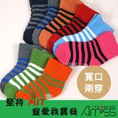 Amiss 【C610 2 】舒柔全起毛寬口止滑童襪條紋2 尺寸3 雙入
