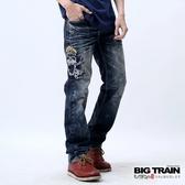 BIG TRAIN 軍帽骷髏小直筒-男-深藍