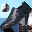 爸爸鞋 夏季男士商務休閒皮鞋男透氣軟皮軟底中年爸爸鞋駕車一腳蹬懶人鞋 艾維朵