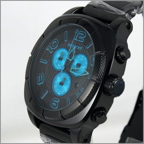 【萬年鐘錶】elegant大錶徑 三眼多功能 (亮黑-藍) ELJT66-FU10MA