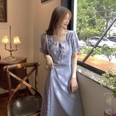 雪紡洋裝 氣質收腰顯瘦長裙子女夏季法式泡泡袖方領碎花雪紡連身裙 唯伊時尚