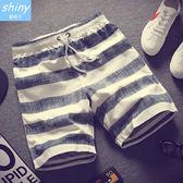 【Y171】shiny藍格子-悠閒感覺.抽繩鬆緊腰薄款沙灘五分短褲