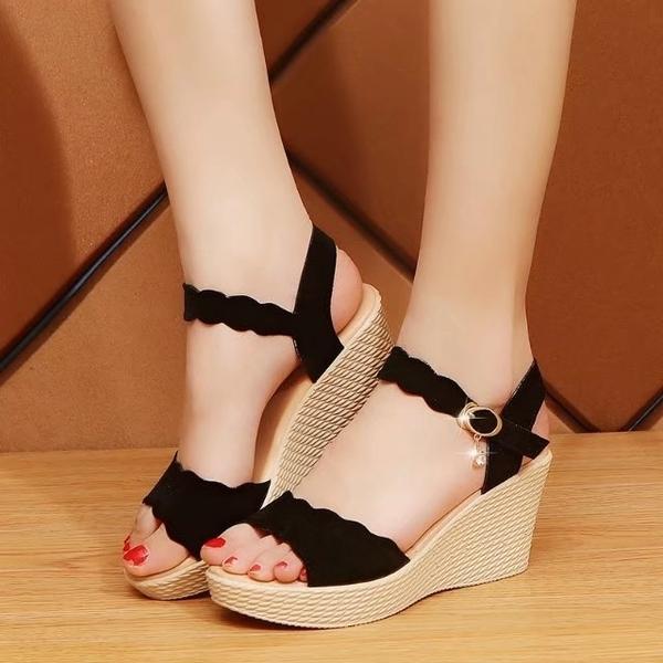 楔型鞋 坡跟涼鞋女夏 百搭舒適 鬆糕厚底 魚嘴高跟防水台 大尺碼女涼鞋