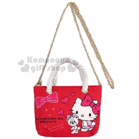 〔小禮堂〕Hello Kitty 尼龍麻繩斜背觸控手機包《紅.紫洋裝》手提包.化妝包.斜背包 4711907-31003