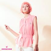 【SHOWCASE】OL小V領前長後短無袖造型襯衫(粉色-附腰帶)