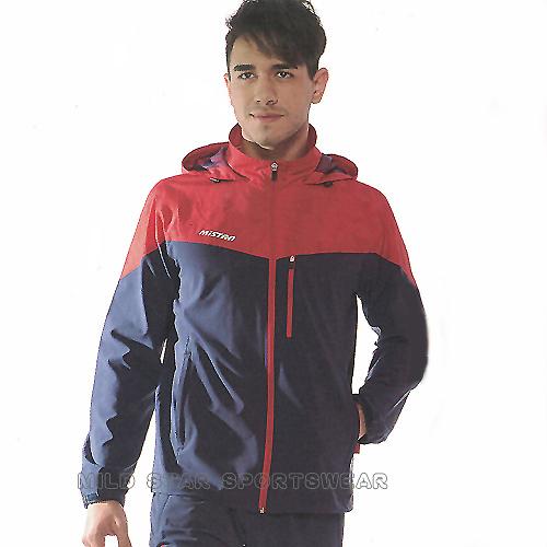 MILD STAR  男女平織網裡連帽運動服套裝[全套]-深藍紅-JS900101+PS800703