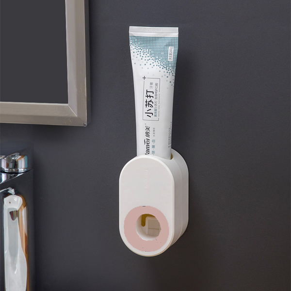 【BlueCat】簡約壁掛式 橢圓型 無痕 按壓擠牙膏器