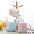 馬克杯 禮物陶瓷馬克杯帶蓋勺家用咖啡杯套...
