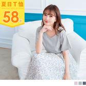 《AB6587》圓領蕾絲拼接高含棉純色上衣 OrangeBear