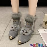 99免運 粗跟鞋 歐洲站鞋子女冬加絨狐貍頭毛毛鞋女粗跟高跟鞋尖頭短靴兔毛時裝靴 【寶貝計畫】