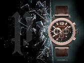 【時間道】POLICE粗曠型男三眼計時腕錶 / 咖面玫瑰金框深咖皮(15529JSBBN-12)免運費