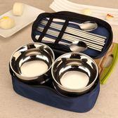 套碗 家庭餐具不銹鋼2人韓式碗筷套裝