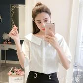條紋短袖襯衫2019夏裝新款女韓版學生寬鬆顯瘦氣質娃娃領休閒襯衣 GD628『黑色妹妹』