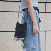 肩背包-釘珠時尚摩登個性流蘇女斜背包3色73so14【巴黎精品】