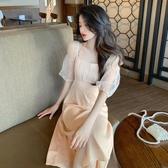 網紗裙夏季新款港風方領修身顯瘦溫柔復古法式網紗泡泡袖桔梗連身裙女潮