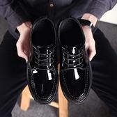 小皮鞋男黑色英倫商務休閒正裝青年韓版男士內增高工作鞋廚師鞋子AC52【棉花糖伊人】