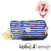 Kipling Emoji系列香蕉吊飾 條紋圖案掛繩手拿包-小