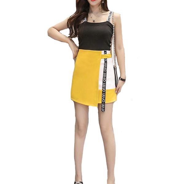 撞色拼接織帶後拉A字不規則短裙(內安全褲)---皮粉 鮮黃 黑 水藍 12042027