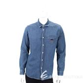 KENZO Tiger 虎頭刺繡藍色丹寧襯衫(男款) 1830453-23