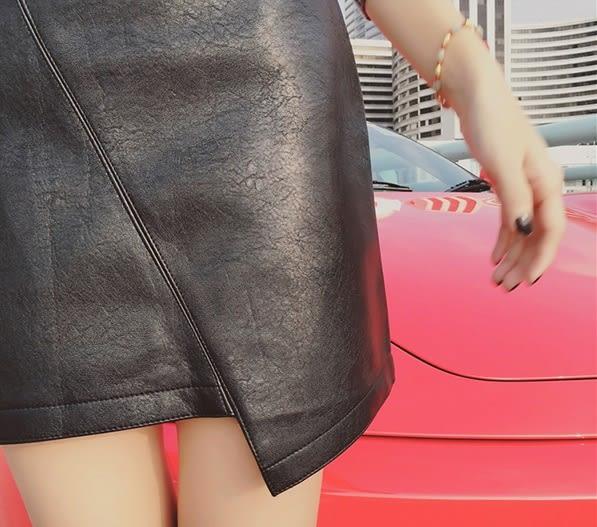 (全館一件免運)DE shop 不規則拼接皮裙(WT-9761)