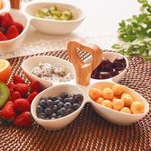 水果盤創意陶瓷分格水果盤竹木把家用干果盤點心堅果零食盤多格配菜盒【618好康八折】