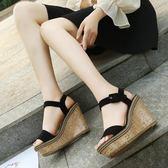 高跟鞋女仙女風涼鞋2019夏季新款韓版露趾坡跟時尚一字扣帶女鞋子「時尚彩虹屋」