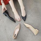 女瓢鞋百搭軟平底職業鞋女黑色皮鞋女工作鞋尖頭低跟單鞋 奇思妙想屋