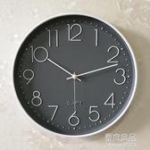 靜音鐘表掛鐘客廳現代簡約大氣家用臥室時尚圓形創意掛墻石英鐘    原本良品