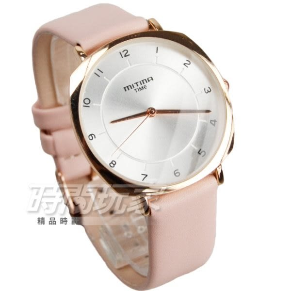 MITINA米提娜 氣質簡約數字女錶 皮革錶帶 防水手錶 學生錶 玫瑰金電鍍x粉紅 M876粉玫