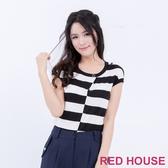 【RED HOUSE 蕾赫斯】圓領條紋針織衫(共2色) 任選2件899元