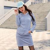 連帽抽繩大口袋薄絨洋裝S-XL【AE102303Z1】THEGIRLWHO那女孩