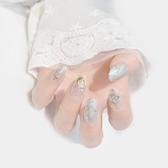 新娘假指甲貼片成品結婚光療日系手工日常美甲銀色星月亮穿戴 居享優品