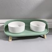 餵食器 陶瓷貓碗保護頸椎雙碗食盆貓糧防打翻貓咪食碗狗盆狗狗碗寵物用品 宜品