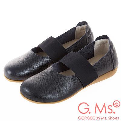 G.Ms. MIT系列-牛皮鬆緊帶圓頭平底休閒鞋-黑色