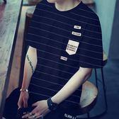 T恤男  夏季男士短袖t恤潮流打底印花半袖男裝韓版條紋青少年衣服修身t恤 芭蕾朵朵