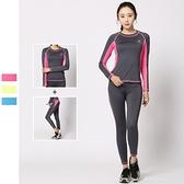 瑜珈服運動套裝(兩件套)-修身彈力速乾圓領女健身衣3色73mt17【時尚巴黎】
