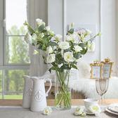 歐式客廳餐桌仿真盆景假花套裝居家裝飾品干絹花束桔梗花藝擺件   伊芙莎