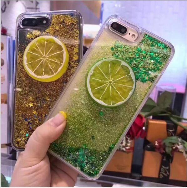 iphone 6 6s 7 8 plus 手機殼 小清新 立體 檸檬 綠 流動 流沙 全包 軟邊