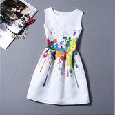 現貨洋裝 夏季新款復古無袖印花連身裙收腰修身顯瘦a字蓬蓬裙短裙子女 艾維朵 7-27