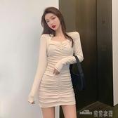 當當衣閣- 秋冬新款韓版緊身長袖內搭打底連衣裙女性感氣質褶皺包臀短裙