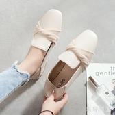 方頭豆豆鞋 2020春季新款晚晚鞋百搭平底兩穿單鞋女鞋夏 BT22520【衣好月圓】