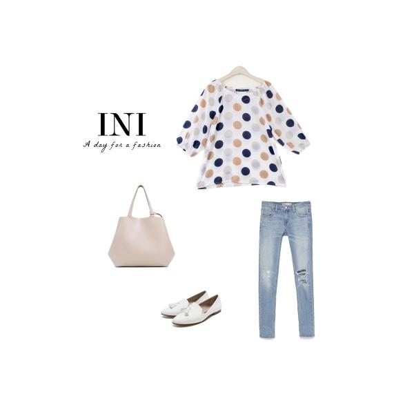 【INI】好搭簡單、滿版繽紛圓點上衣.白色