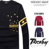 『潮段班』【SD095053】美式秋冬新款 M-XL 閃耀點點星星英文純色圓領長袖T恤上衣