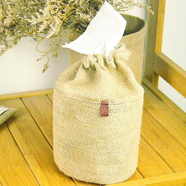 【BlueCat】天然黄麻束口圓形面紙盒 面紙抽 紙巾抽