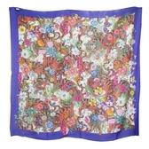 【南紡購物中心】GUCCI 羊毛混絲植物老虎圖案流蘇披巾/方巾(紫)
