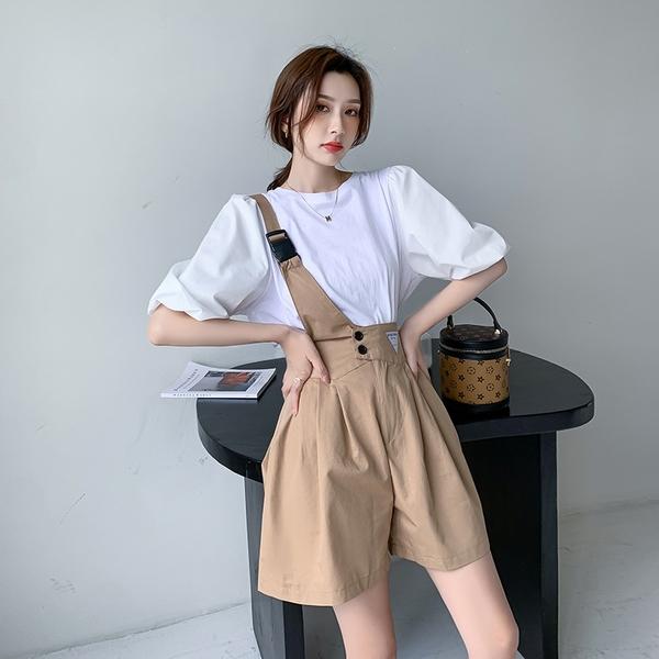VK精品服飾 韓系泡泡袖上衣單肩帶寬口褲套裝短袖褲裝