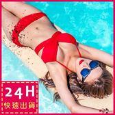 現貨★梨卡 - 多穿法集中爆乳鋼圈泳衣比基尼 - 6種穿法韓國廣告款百變多WAY泳裝Q311