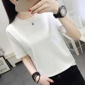 白色圓領冰絲t恤女夏季新款半袖體桖寬松短袖上衣服冰絲針織衫潮·9號潮人館