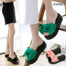 拖鞋.絨面大糖果結楔型厚底拖鞋【K0031】黑 / 綠 / 粉