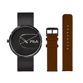 【FILA 斐樂】簡約設計腕錶錶帶套組-極致黑x棕/38-178-003-SET A/台灣總代理公司貨享兩年保固